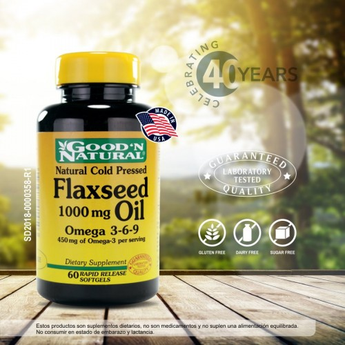 Flaxseed Oil 1000mg x 60 Softgels Good Natural
