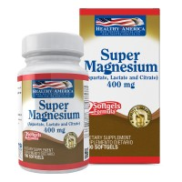 Super Magnesium 400 mg (As Aspartate, Lactate, Citrate) x 100 Softgels Healthy América